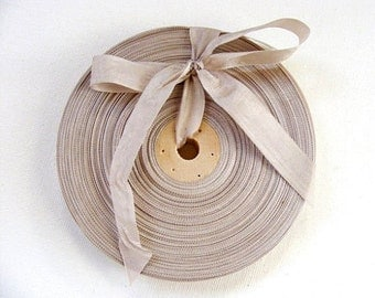 Vintage 1930's-40's French Woven Ribbon -Milliners Stock- 5/8 Inch Gorgeous Taupe Beige