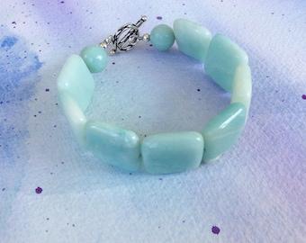 FREE SHIPPING Large Light Blue Aqua Square Stone Amazonite Sterling Toggle Clasp Bracelet