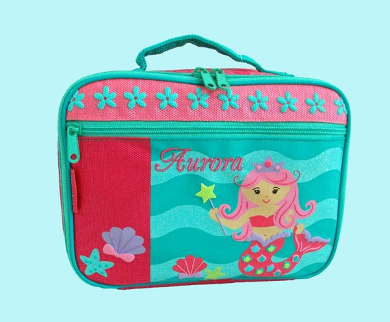 Stephen Joseph Child's Personalized MERMAID With Pink Hair Themed Lunch Box-Monogramming Included in the Price-Pink & Purple