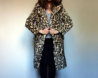 Leopard Coat Winter Jacket Fall Coat Faux Fur Vintage Leopard Print Coat Double Breasted 70s Coat Rock and Roll Clothing Medium to Large M L