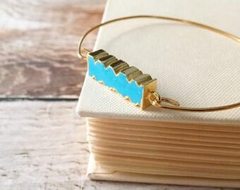 Bangle Bracelet Turquoise Jewelry . Turquoise Bangle Bracelet Stackable Bangle Gold Brass Bracelet . Stacking Turquoise Gold Bracelet Bangle