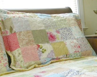 pillow shams, 2 shams, cotton bedding, queen/king, 22X40, patchwork, vintage, retro