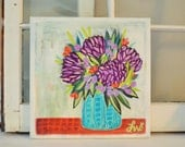 farmhouse chic, vibrant wildflowers abstract folk acrylic original painting, 12x12x.5 inch canvas, no need to frame