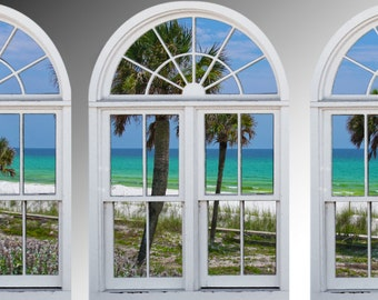 Faux window frame, photo wall decals Destin, Florida- window view-large 3 piece set-24x36 each panel