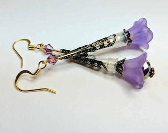 Purple Pipette Tip Flower Earrings - Fun Jewelry for Scientists