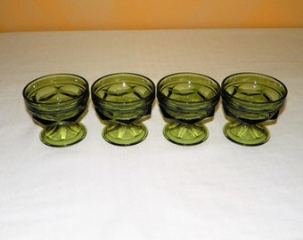Anchor Hocking Fairfield Olive Green dessert Cups, Set of 4, Ice Cream, Fruit, Dessert Dish