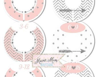 FULLY ASSEMBLED Custom Closet Dividers Organizer Baby Girl Shower Gift Nursery Decor Pink Silver gray Arrow Chevron Dots Tribal Baby Clothes