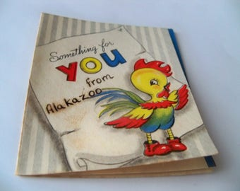 mini antique gift card little rooster