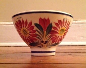 HB Henriot Quimper Bowl- Red And Blue Flowers France