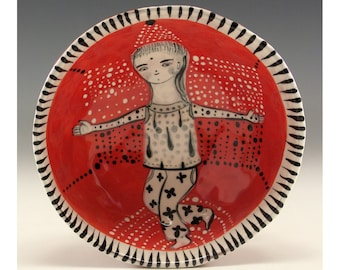 Dancing Girl Painting by Jenny Mendes in a red ceramic pinch bowl finger bowl