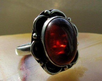 Size 7  1/2 Sterling Silver Native American Made Dark Amber Ring