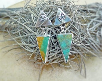 Tribal Tibetan Turquoise Earrings, Sterling Silver and Turquoise Earrings, Drop Earrings, Post Earrings, Turquoise & Silver Dangle Earrings