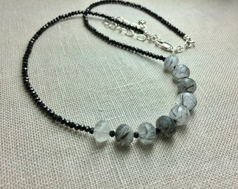 Black Spinel Necklace with Rutilated Quartz in Sterling Silver