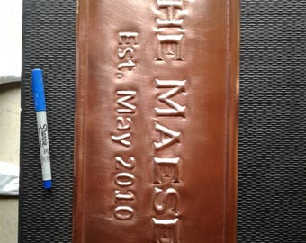 Hand Hammered Copper Business Sign