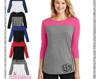 Ladies Monogrammed Colorblock Tunic | Womens Monogrammed Shirt