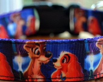 Lady and the tramp dog collar & or leash on purple webbing