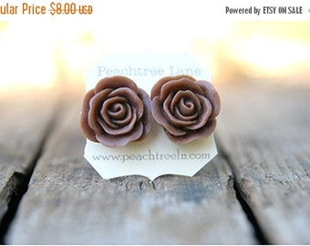 CYBER MONDAY SALE Large Chocolate Brown Rose Earring << Bridesmaid Gifts >> Bridesmaid Earrings << Rustic Wedding