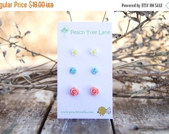SALE Tiny Pink Coral Rose Earrings // Baby Blue Earrings // Mustard Yellow Daisy Studs //  Bridesmaid Gifts