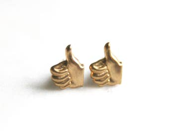 Thumbs Up Earrings | Brass Earrings | Brass Jewelry | Good Job Earring | Gold Earrings | Facebook Like | Thumbs Down | Facebook Unlike