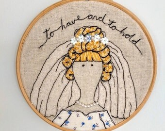 To Have And To Hold Framed Freehand Embroidered by Lillyblossom with frenchknots, beads and sequins