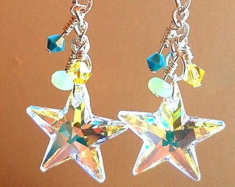 Aurora Borealis Swarovski Crystal Star Earrings - Silver Plated fish hook earwires