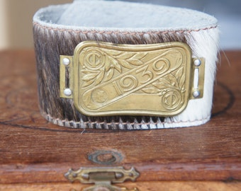 Cow Hide Cuff with 1939 French Bicycle Plaque Embellishment