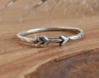 Dainty Arrow Ring - Sterling Silver Arrow Rings - Boho Jewelry - Arrow Stackable Ring -