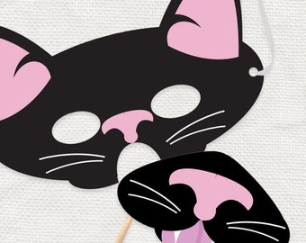 Printable cat mask etsy for Hello kitty mask template