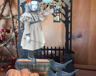 Vintage Style HALLOWEEN Shelf Sitter - Moonlight Sonata