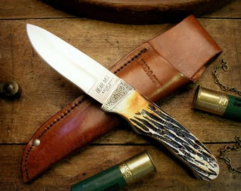 Hand Engraved Bear & Son Cutlery Pro Skinner Hunting Knife, Fixed Blade Personalized Gift for Deer, Elk Hunter