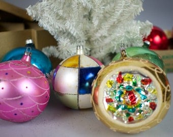 5 Large Vintage Glass Christmas Tree Ornaments Balls