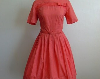 60s fit and flare CORAL day dress with bow detail size small petite