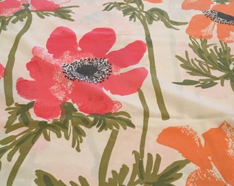 Large Red & Orange Flowers Vintage Vera TWIN FLAT Sheet - Reclaimed Bed Linens