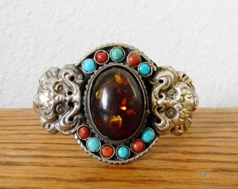 Vintage Tibetan Silver Double Dragon Bracelt with Amber, Turquoise, and Coral