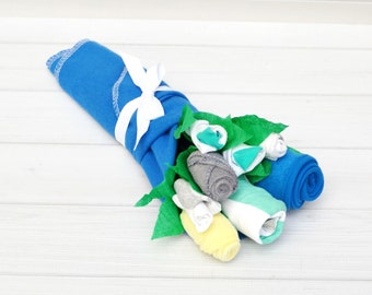 Baby Boy Gift, Baby Nephew Gift, Baby Shower Gift, Baby Blossom, New Mom Basket, Cute Baby Clothes, Flowers for New Baby, Baby Gifts