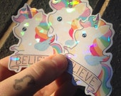 Sparkle unicorn stickers, cute stickers, kawaii unicorn, unicorn sticker set, cute planner stickers, set of three prism stickers,