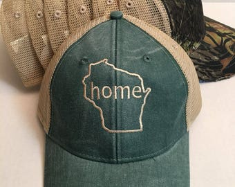State Monogram Baseball Hat, Women's Hat, State Outline Home Cap, Womens Baseball Cap, Bridesmaids Hats, Wisconsin State Hat