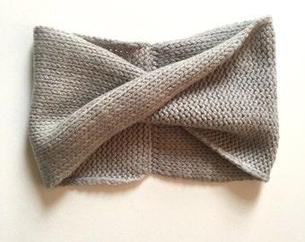 Fog Grey Cashmerino Möbius Headband // Hand Dyed & Handmade