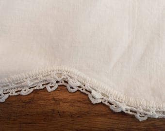 Vintage White Pillowcase with Crochet Edge
