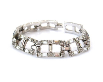LEDO Clear Rhinestone Bracelet • 1950s Baguette Crystal Links • Vintage Polcini Jewelry