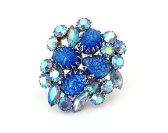 CORO Brooch High End Cats Eye Art Glass | Unsigned Blue Rhinestone Pin | Vintage 1960s Jewelry