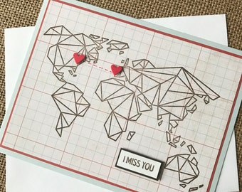 I Miss You - Long distance love - world map with hearts customized handmade greeting card