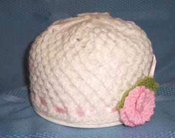 PATTERN - Knit White Baby Hat with Pink Flower
