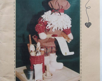 Ginger Doodle Santa/14 in Santa/Uncut Craft Pattern by Hanging by a Thread/1995/Santa with an Apron/Christmas Decoration
