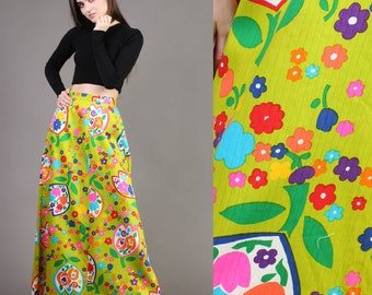 vintage RAINBOW + TULIP psychedelic maxi high waist hippie skirt novelty print 1970s 1960s 60s 70s extra small XS