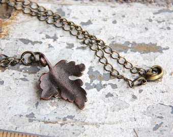 Copper Leaf - Matte Oxidized Pendant on Chain