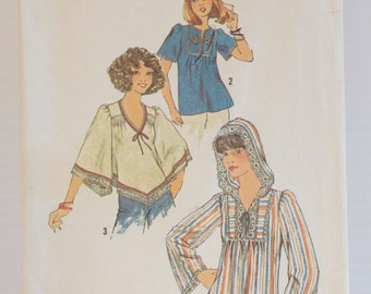 Vintage Pullover Style Boho Tops Size 10 Simplicity pattern 7811 Size 10