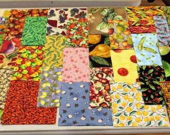 CHARM PACK 5.5 inches Fruits and Vegetables 99 pieces Quilting Cotton Fabric