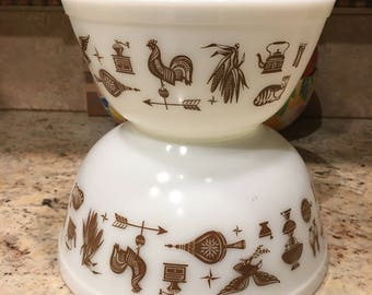 Pyrex Vintage Early American Brown Patterned White Mixing Bowls, set of 2