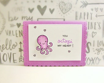 Octopi My Heart Valentine, Octopus Valentine Card, Punny Valentine Card, Kids Valentine, Child Valentine Card, Octopus Valentine's Day Card